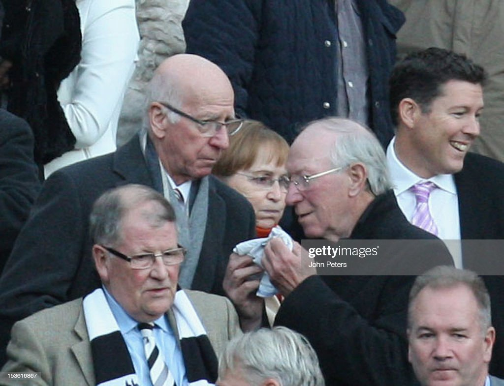 Sir Bobby Charlton (L) of Manchester United talks to his brother Jack Charlton ahead of the Barclays Premier League match between Newcastle United and Manchester United at Sports Direct Arena on October 7, 2012 in Newcastle upon Tyne, England.