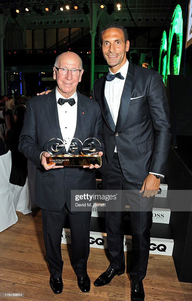 Sir Bobby Charlton (L), winner of the Lifetime Achievement award, and Rio Ferdinand attend the GQ Men of the Year awards at The Royal Opera House on September 3, 2013 in London, England.