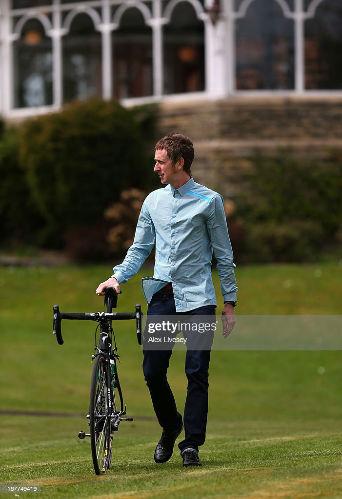 Sir Bradley Wiggins arrives for a media day ahead of the Giro de Italia at the Kilhey Court Hotel on April 29, 2013 in Wigan, England.