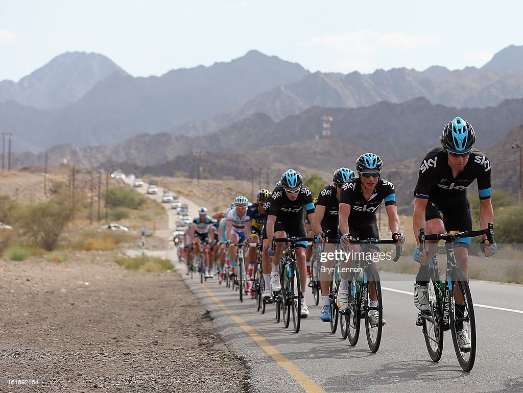 Sir Bradley Wiggins of Great Britain and SKY Procycling rides in the peloton during stage four of the 2013 Tour of Oman from Al Saltiyah in Samail to Jabal Al Akhdhar (Green Mountain) on February 14, 2013 in Jabal Al Akhdhar, Oman.