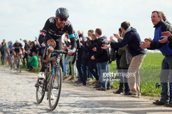Sir Bradley Wiggins of Great Britain and Team SKY in action during the 112th edition of the Paris Roubaix cycle race from Compiegne to Roubaix on...