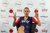 Sir Bradley Wiggins of Great Britain and Team Wiggins celebrates setting a new UCI One Hour Record at Lee Valley Velopark Velodrome on June 7 2015 in...