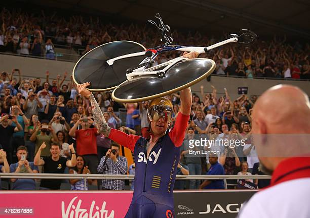 Sir Bradley Wiggins of Great Britain and Team Wiggins celebrates breaking the UCI One Hour Record at Lee Valley Velopark Velodrome on June 7 2015 in...