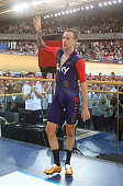 Sir Bradley Wiggins of Great Britain and Team Wiggins celebrates after the UCI One Hour Record at Lee Valley Velopark Velodrome on June 7 2015 in...