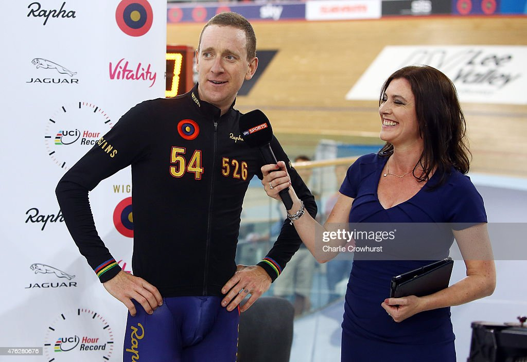 Sir Bradley Wiggins of Great Britain and Team Wiggins celebrates after the UCI One Hour Record at Lee Valley Velopark Velodrome on June 7, 2015 in London, England.