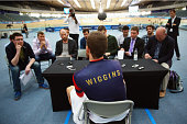 Sir Bradley Wiggins of Great Britain and Team Wiggins chats to the media after training at the Lee Valley Velopark ahead of his UCI Hour Record...