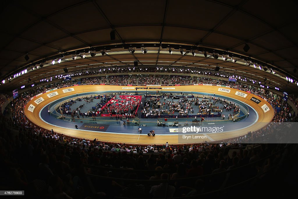 Sir Bradley Wiggins of Great Britain and Team Wiggins in action on his way to setting a new UCI One Hour Record at Lee Valley Velopark Velodrome on June 7, 2015 in London, England.