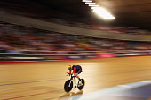 Sir Bradley Wiggins of Great Britain and Team Wiggins in action on his way to setting a new UCI One Hour Record at Lee Valley Velopark Velodrome on...