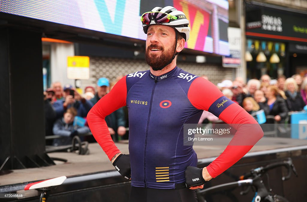 Sir <a gi-track='captionPersonalityLinkClicked' href=/galleries/search?phrase=Bradley+Wiggins&family=editorial&specificpeople=182490 ng-click='$event.stopPropagation()'>Bradley Wiggins</a> of Great Britain and Team Wiggins looks on at the start prior to Stage 3 of the Tour of Yorkshire from Wakefield to Leeds on May 3, 2015 in Wakefield, England.