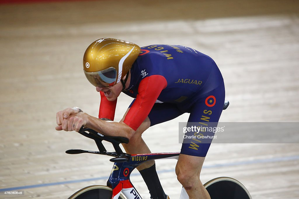 Sir Bradley Wiggins of Great Britain and Team Wiggins on his way to break the UCI One Hour Record at Lee Valley Velopark Velodrome on June 7, 2015 in London, England.