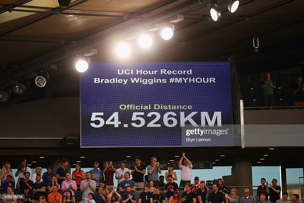 Sir Bradley Wiggins of Great Britain and Team Wiggins set a new UCI One Hour Record at Lee Valley Velopark Velodrome on June 7, 2015 in London, England.