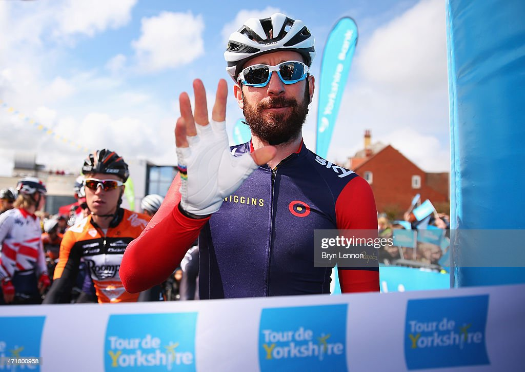 Sir Bradley Wiggins of Great Britain and Team Wiggins waves prior to Stage 1 of the Tour of Yorkshire from Bridlington to Scarborough on May 1, 2015 in Bridlington, England.