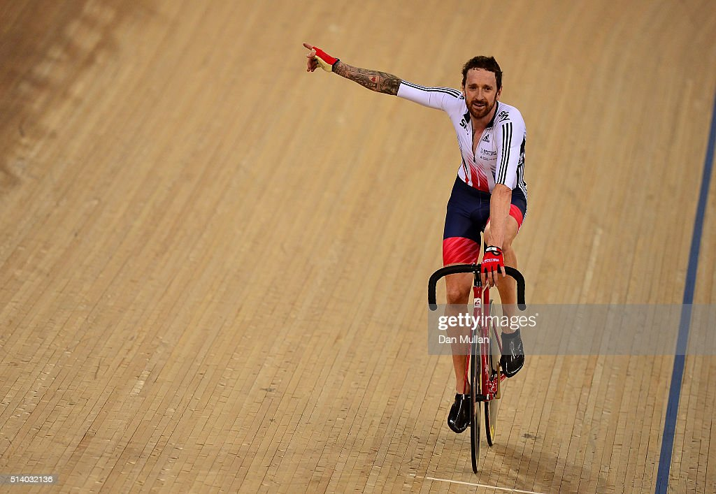 Sir Bradley Wiggins of Great Britain celebrates winning the Mens Madison Final during Day Five of the UCI Track Cycling World Championships at Lee...