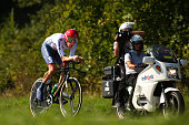 Sir Bradley Wiggins of Great Britain in action during the Elite Men's Time Trial from Montecatini Terme to Florence on September 25 2013 in Florence...