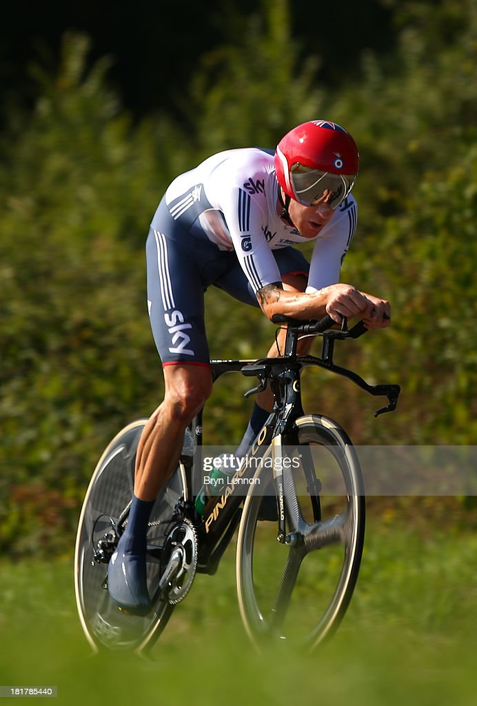 Sir Bradley Wiggins of Great Britain in action during the Elite Men's Time Trial, from Montecatini Terme to Florence on September 25, 2013 in Florence, Italy.