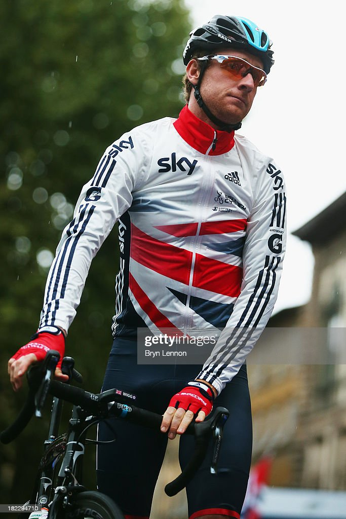 Sir Bradley Wiggins of Great Britain looks on ahead of the Elite Men's Road Race, a 272km race from Lucca to Florence on September 29, 2013 in Florence, Italy.