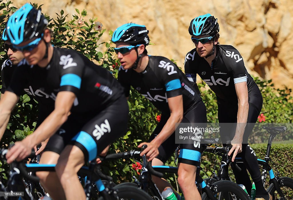 Sir Bradley Wiggins of Great Britain rides with his SKY Procycling teams mates prior to the 2013 Tour of Oman on February 10, 2013 in Muscat, Oman. The Tour of Oman starts tomorrow with a 162km stage from Al Musannah to Sultan Qaboos University.