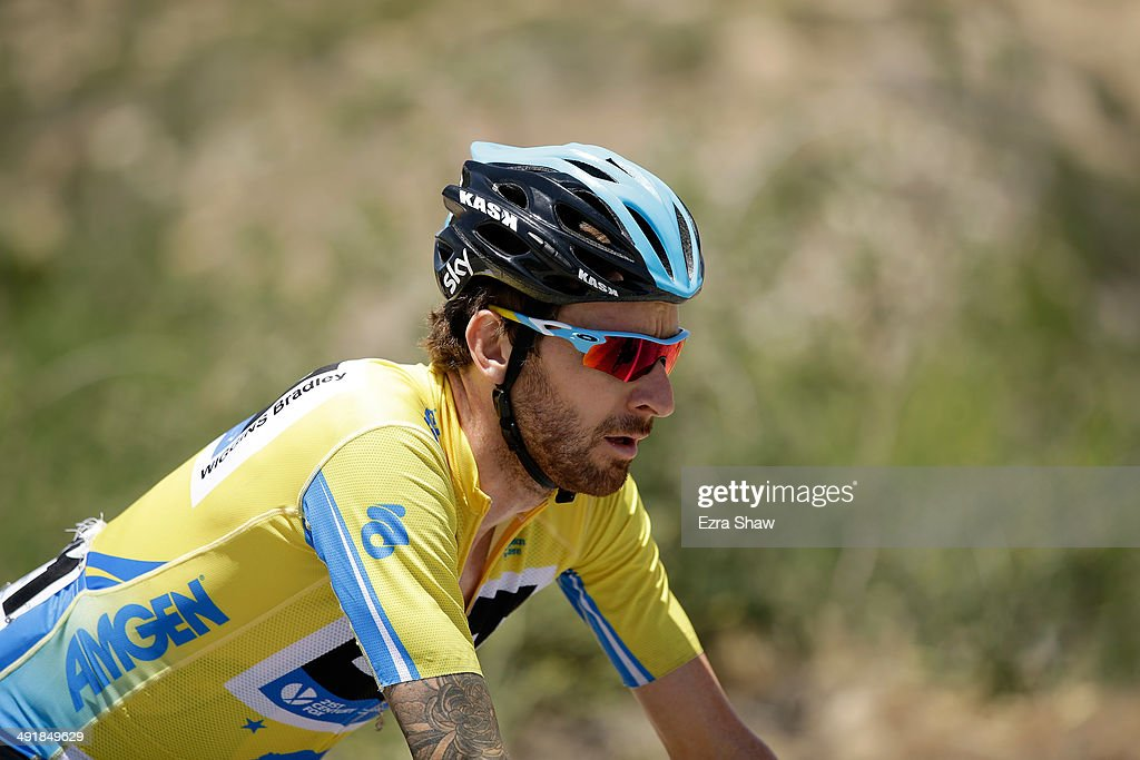 Sir <a gi-track='captionPersonalityLinkClicked' href=/galleries/search?phrase=Bradley+Wiggins&family=editorial&specificpeople=182490 ng-click='$event.stopPropagation()'>Bradley Wiggins</a> of Great Britain riding for Team Sky rides with the peloton during stage seven of the 2014 Amgen Tour of California from Santa Clarita to Pasadena on May 17, 2014 in Pasadena, California.