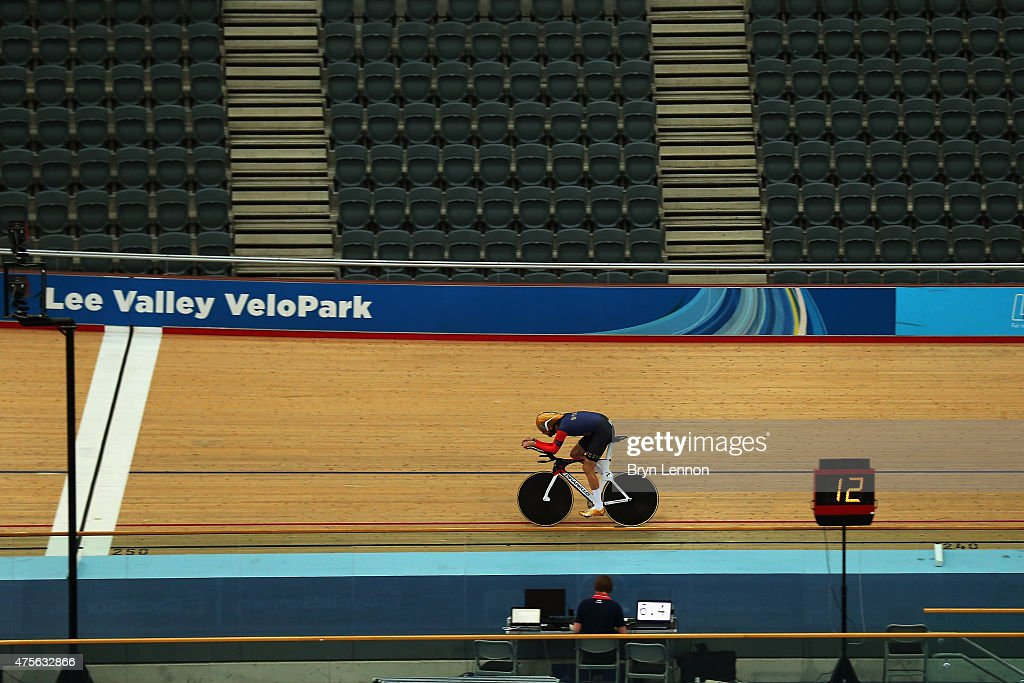 Sir Bradley Wiggins of Great Britain trains at the Lee Valley Velopark ahead of his UCI Hour Record Attempt on June 2 2015 in London England