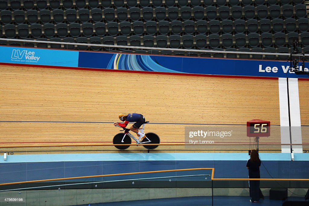 Sir <a gi-track='captionPersonalityLinkClicked' href=/galleries/search?phrase=Bradley+Wiggins&family=editorial&specificpeople=182490 ng-click='$event.stopPropagation()'>Bradley Wiggins</a> of Great Britain trains at the Lee Valley Velopark ahead of his UCI Hour Record Attempt on June 2, 2015 in London, England.