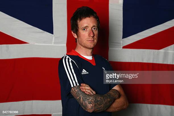 Sir Bradley Wiggins of Team GB poses for a photo at a press conference announcing the Team GB track cyclists selected to ride in the Rio 2016 Olympic...