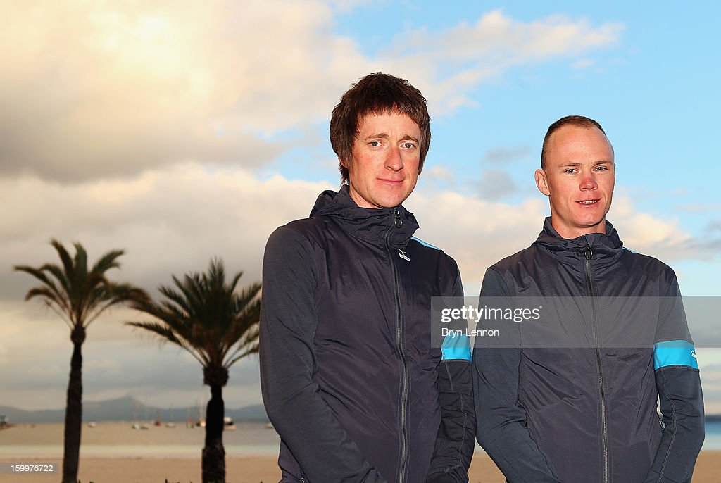 Sir Bradley Wiggins of Team SKY and team mate <a gi-track='captionPersonalityLinkClicked' href=/galleries/search?phrase=Chris+Froome&family=editorial&specificpeople=5428054 ng-click='$event.stopPropagation()'>Chris Froome</a> attend a Team Sky Media Day in Puerto de Alcudia on January 24, 2013 in Mallorca, Spain.