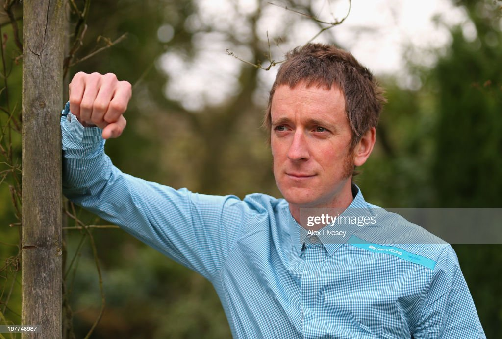 Sir Bradley Wiggins poses for a portrait during a media day ahead of the Giro de Italia at the Kilhey Court Hotel on April 29 2013 in Wigan England