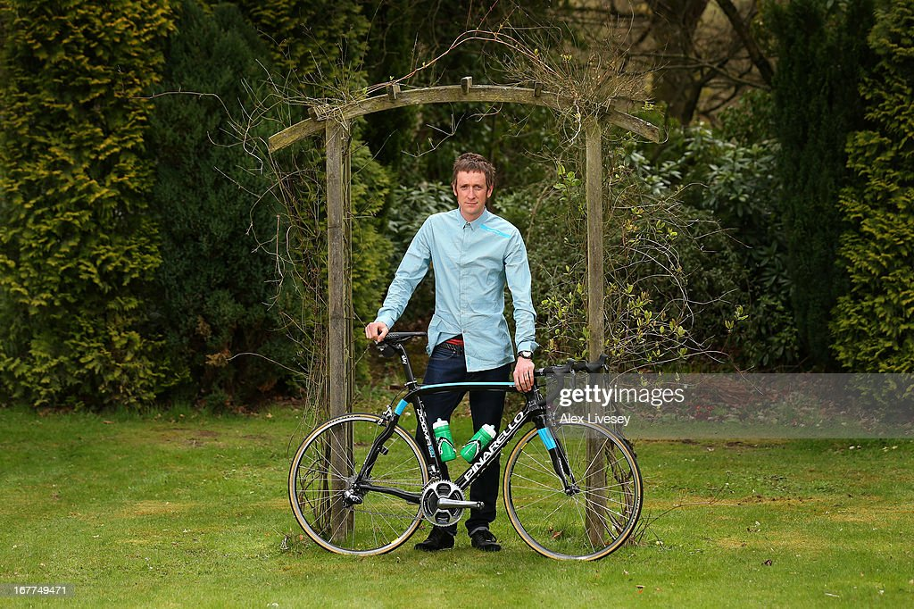 Sir Bradley Wiggins poses for a portrait during a media day ahead of the Giro de Italia at the Kilhey Court Hotel on April 29, 2013 in Wigan, England.