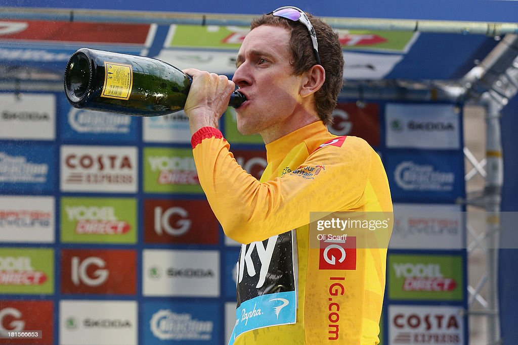 Sir <a gi-track='captionPersonalityLinkClicked' href=/galleries/search?phrase=Bradley+Wiggins&family=editorial&specificpeople=182490 ng-click='$event.stopPropagation()'>Bradley Wiggins</a>, riding for Team Sky Procycling, celebrates winning the Tour of Britain on September 22, 2013 in London, England. Today's 89km route along the banks of the river Thames and concluding on Whitehall is the final stage of the race. Sir <a gi-track='captionPersonalityLinkClicked' href=/galleries/search?phrase=Bradley+Wiggins&family=editorial&specificpeople=182490 ng-click='$event.stopPropagation()'>Bradley Wiggins</a>, riding for Team Sky Procycling, won the race with a 26 second advantage.