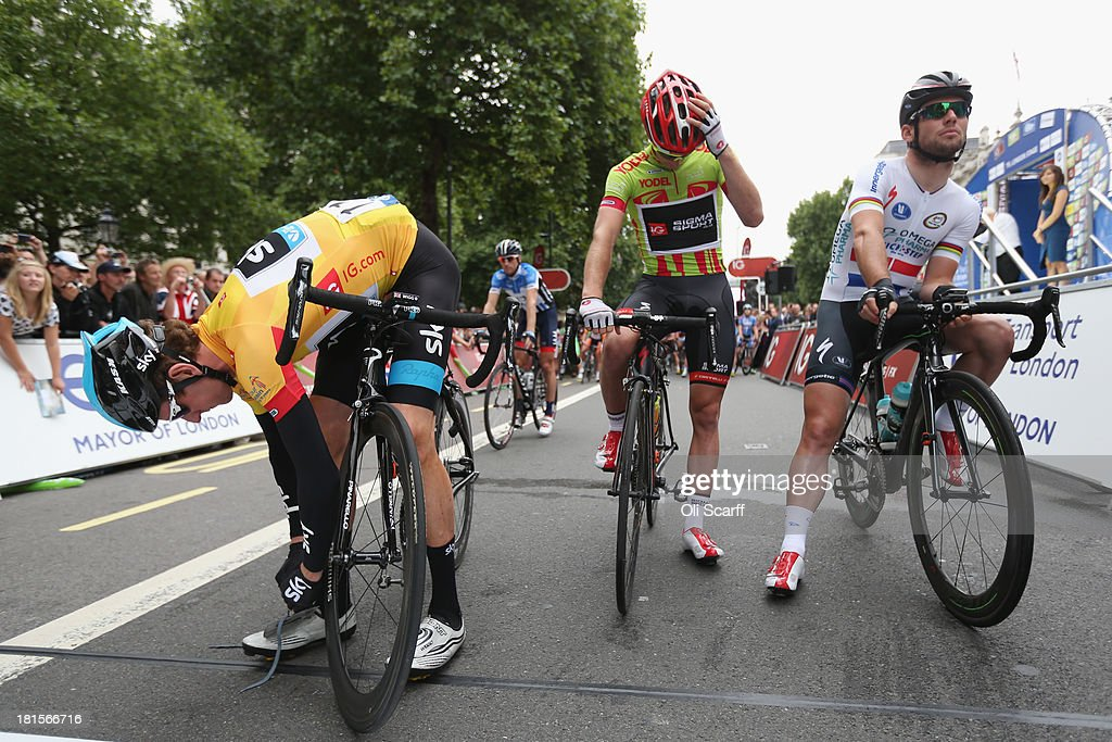 Sir <a gi-track='captionPersonalityLinkClicked' href=/galleries/search?phrase=Bradley+Wiggins&family=editorial&specificpeople=182490 ng-click='$event.stopPropagation()'>Bradley Wiggins</a> (L), riding for Team Sky Procycling, ties his shoelaces before the final stage of the Tour of Britain on September 22, 2013 in London, England. Today's 89km route along the banks of the river Thames and concluding on Whitehall is the final stage of the race. Sir <a gi-track='captionPersonalityLinkClicked' href=/galleries/search?phrase=Bradley+Wiggins&family=editorial&specificpeople=182490 ng-click='$event.stopPropagation()'>Bradley Wiggins</a>, riding for Team Sky Procycling, won the race with a 26 second advantage.