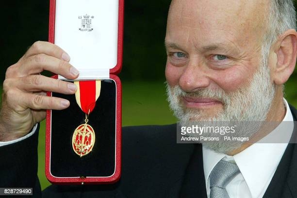 Sir Brian McMaster with his Knighthood for services to the Edinburgh Festival that he received from Queen Elizabeth II at the Palace of Holyroodhouse...
