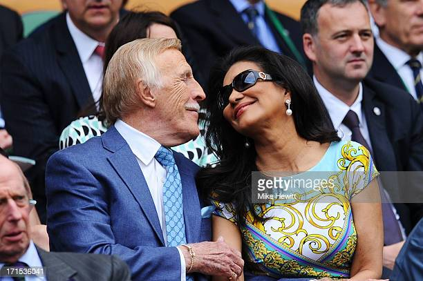 Sir Bruce Forsyth and his wife Wilnelia attend the Ladies' Singles second round match between Eugenie Bouchard of Canada and Ana Ivanovic of Serbia...