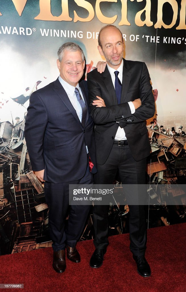 Sir Cameron Mackintosh (L) and Eric Fellner attend an after party following the World Premiere of 'Les Miserables' at The Roundhouse on December 5, 2012 in London, England.