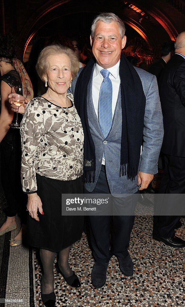 Sir Cameron Mackintosh (R) and mother Diana Mackintosh attend an after party following the press night performance of 'The Book of Mormon' at the Natural History Museum on March 21, 2013 in London, England.