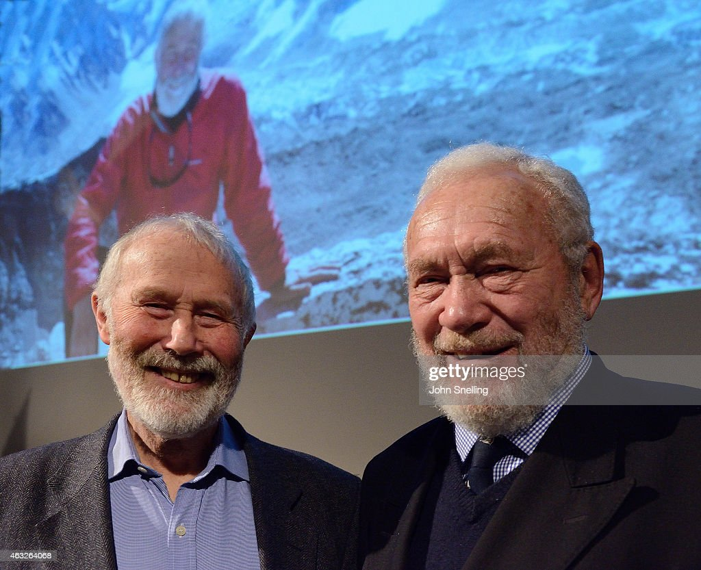 Sir Chris Bonington and <a gi-track='captionPersonalityLinkClicked' href=/galleries/search?phrase=Sir+Robin+Knox-Johnston&family=editorial&specificpeople=2821245 ng-click='$event.stopPropagation()'>Sir Robin Knox-Johnston</a> attend a celebration of the life and career of Sir Chris Bonington 'My climbing life' at Royal Geographical Society on February 11, 2015 in London, England.