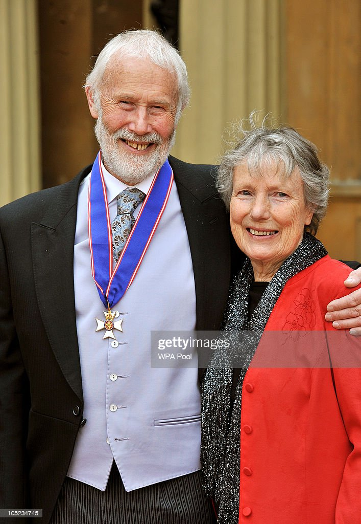Sir Chris Bonnington, with his CVO (Commander of the Royal Victorian Order) medal received from Queen Elizabeth II, and his wife Wendy attend the Royal Investiture ceremony at Buckingham Palace on October 13, 2010 in London, England. Mountaineer Chris Bonnington was honoured for his services to the Outward Bound Trust.
