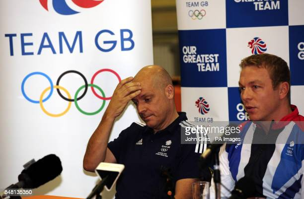 Sir Chris Hoy and British Cycling Performance Director Dave Brailsford during the Team GB Announcement at the National Cycling Centre Manchester