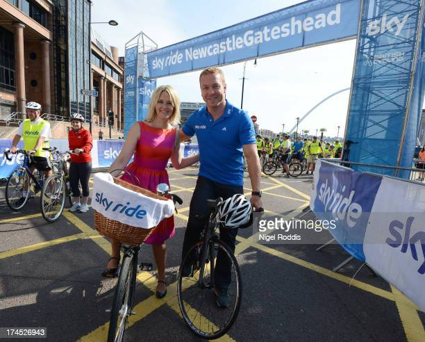 Sir Chris Hoy and Edith Bowman take part in Sky Ride NewcastleGateshead on July 27 2013 in Newcastle Upon Tyne England Thousands of participants...
