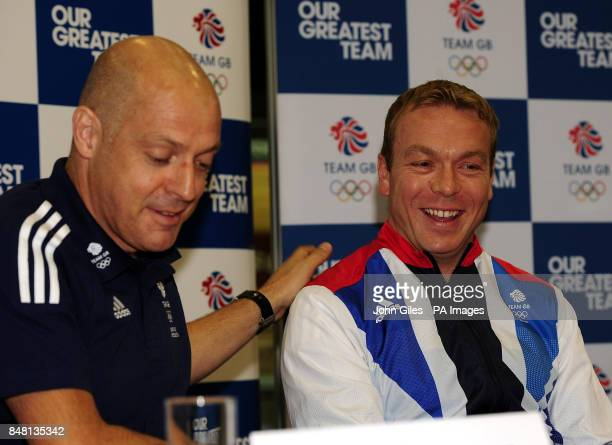 Sir Chris Hoy is congratulated by British Cycling Performance Director Dave Brailsford after the announcement of his selection during the Team GB...