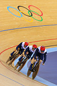 Sir Chris Hoy Kenny Jason and Philip Hindes of Great Britain compete in the Men's Team Sprint Track Cycling Qualifying on Day 6 of the London 2012...