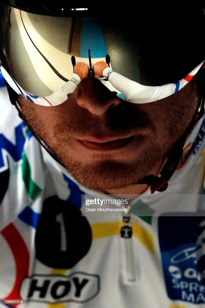 Sir <a gi-track='captionPersonalityLinkClicked' href=/galleries/search?phrase=Chris+Hoy&family=editorial&specificpeople=171259 ng-click='$event.stopPropagation()'>Chris Hoy</a> of Great Britain gets ready on the start line to compete in the Giant Sprint Masters during the Rotterdam 6 Day Cycling at Ahoy Rotterdam on January 6, 2013 in Rotterdam, Netherlands.