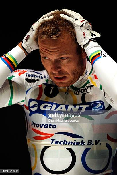 Sir Chris Hoy of Great Britain gets ready to compete in the Giant Sprint Masters during the Rotterdam 6 Day Cycling at Ahoy Rotterdam on January 6...