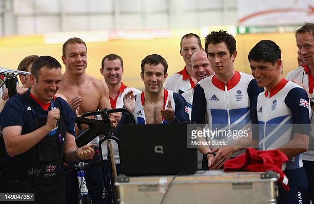Sir Chris Hoy Ross Edgar Geraint Thomas and Peter Kennaugh members of Team GB Track Cycling watch the finishing stages of the Tour de France during...