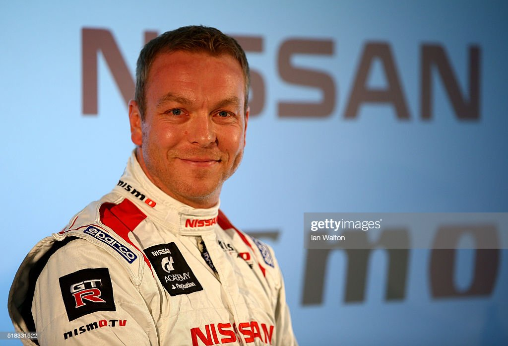 Sir Chris Hoy speaks during a press conference to announce the Algarve Pro Racing Nissan LMP2 driver line-up for Le Mans at the Nissan Innovation Station in the O2 Arena on March 31, 2016 in London, England.