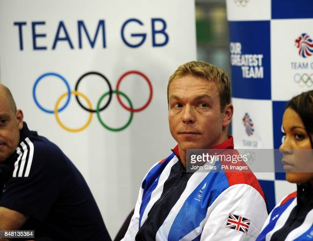 Sir Chris Hoy with British Cycling Performance Director Dave Brailsford and Shanaze Reade during the Team GB Announcement at the National Cycling...