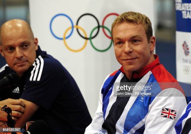 Sir Chris Hoy with British Cycling Performance Director Dave Brailsford during the Team GB Announcement at the National Cycling Centre Manchester