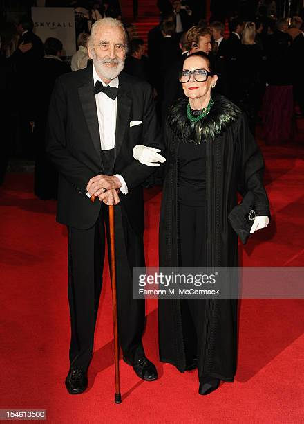 Sir Christopher Lee and wife Gitte Lee attend the Royal World Premiere of 'Skyfall' at the Royal Albert Hall on October 23 2012 in London England