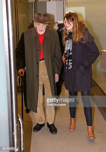 Sir Christopher Lee arrives at Tegel Airport on February 7 2014 in Berlin Germany