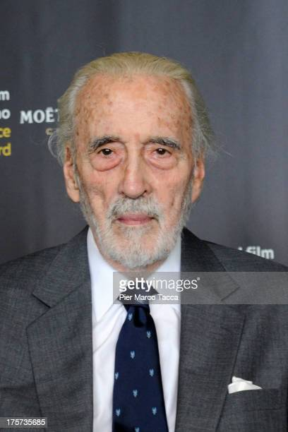Sir Christopher Lee attends 'Excellence Award Moet Chandon' photocall during 66th Locarno Film Festival on August 7 2013 in Locarno Switzerland