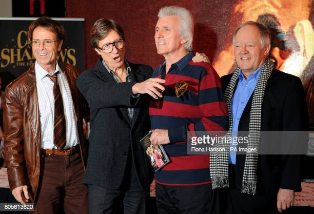 Sir Cliff Richard and the Shadows Hank Marvin Bruce Welch and Brian Bennett at HMV Oxford Street to sign copies of their new DVD of greatest hits The...